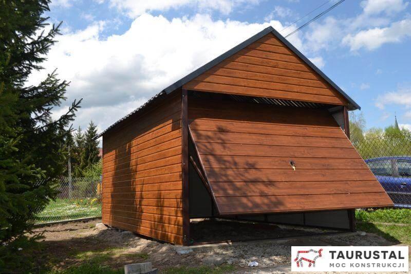 Garaż akrylowy, drewnopodobny